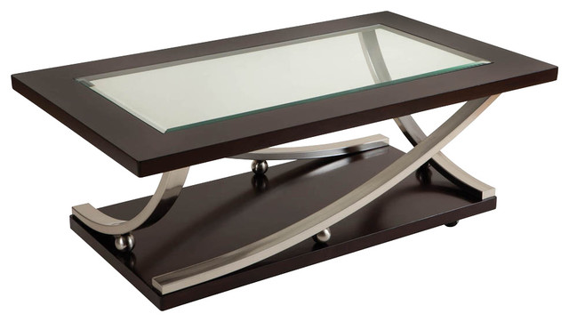 Standard Furniture Melrose Rectangular Glass Top Cocktail Table With  Casters Coffee Tables