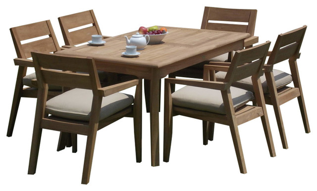 Outdoor 7-Piece Dining Set With Rectangular Table, 60, Furniture Only.