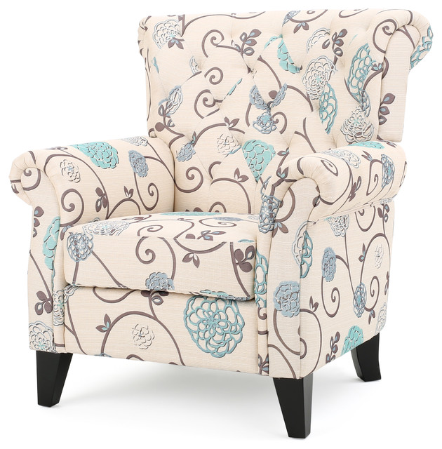 Solvang White U0026 Blue Floral Fabric Club Chair