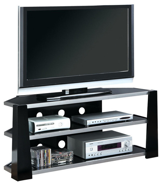 Monarch Specialties - Matrix Media Unit With Tempered Glass, Glossy Black & Reviews | Houzz