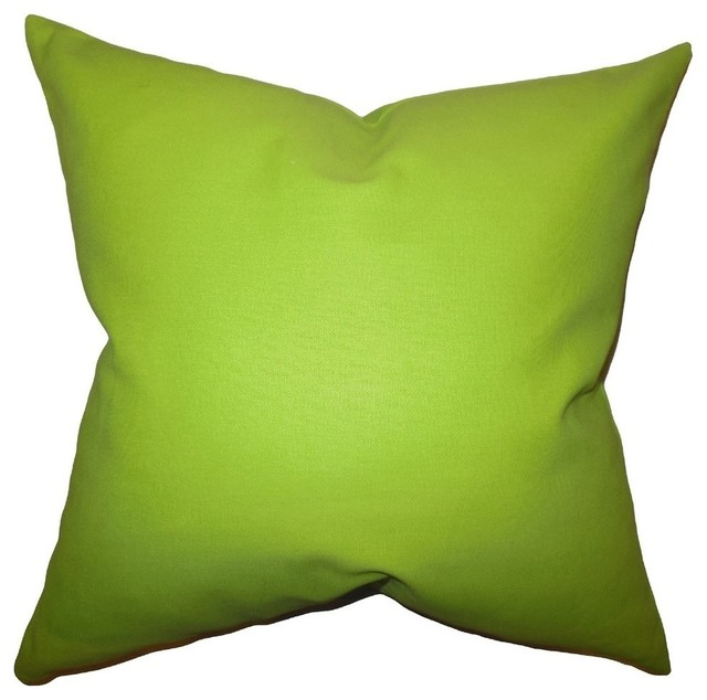 "Kalindi Solid Pillow Chartreuse 20""x20""."