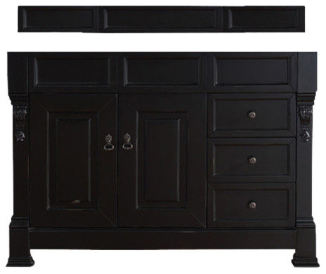 "Brookfield 48"" Antique Black Vanity With 2 Cm Carrara White Marble Top, No Top."