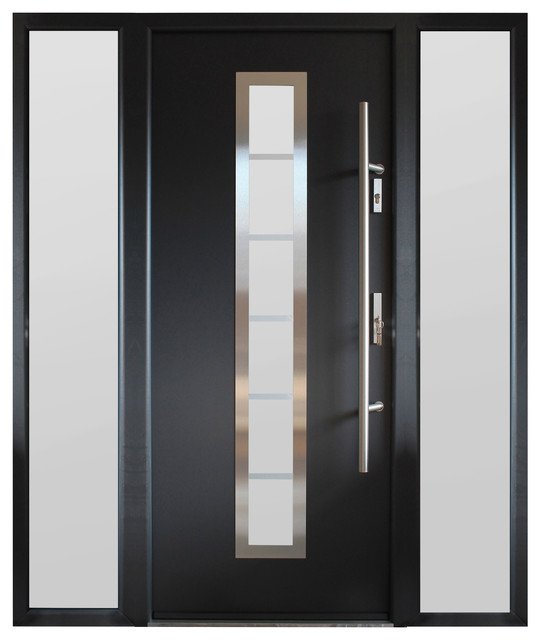 Modern Gray Exterior With Steel Beams: Modern Entry Door With Sidelites, Gray Finish