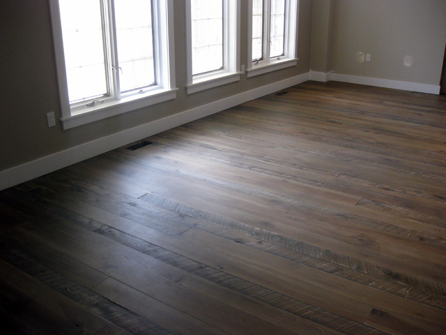 Textured Top Plank Flooring With Jacobean Grey Stain Eclectic