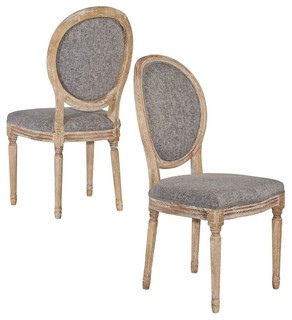 Manchester Dining Chairs, Dark Natural Brown Finish, Set of 2