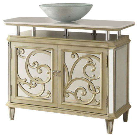 38 5  Champagne Gold Color Mirrored Reflection Idella Vessel Sink Vanity  Hfz250 traditional bathroom. 38 5  Champagne Gold Color Mirrored Reflection Idella Vessel Sink
