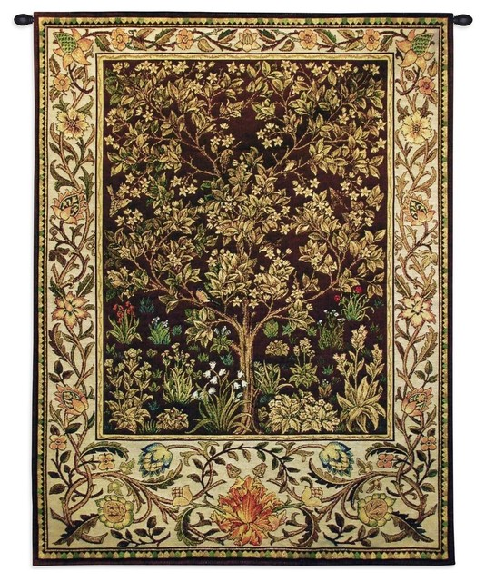 "Tree Of Life Umber Wall Tapestry, 40""x30""."