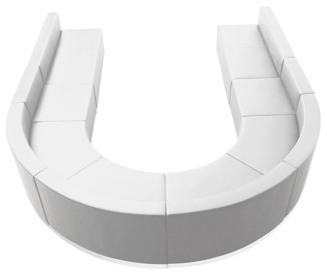 8-Piece Hercules Alon Series Leather Configuration, White.