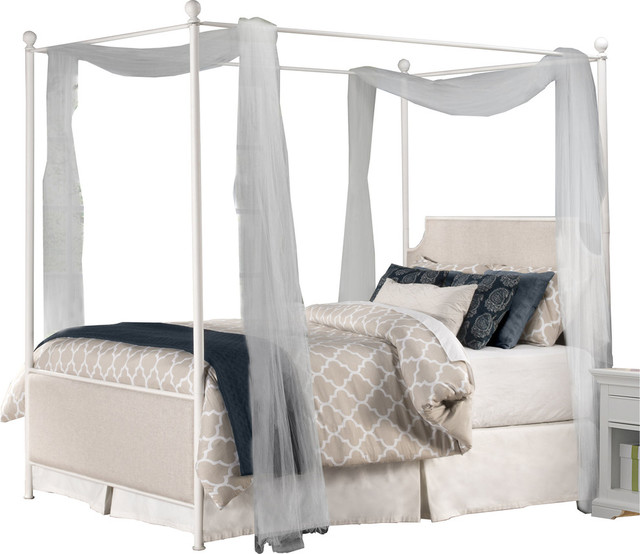 Mcarthur Canopy Bed Set, Off, White Finish, Bed Frame Included, King.