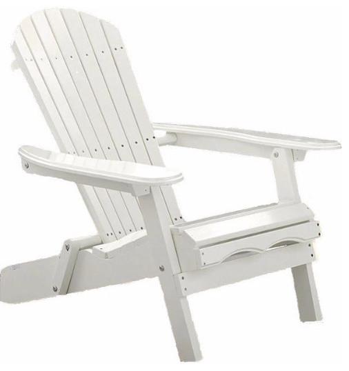 Folding Adirondack Chair, White Wood Finish Contemporary Adirondack Chairs