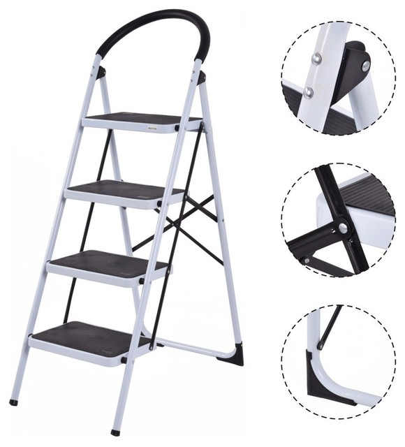 Fantastic Costway 4 Step Ladder Folding Stool Heavy Duty 330Lbs Capacity Lightweight Pabps2019 Chair Design Images Pabps2019Com