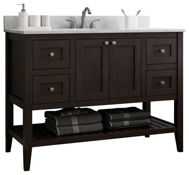 48 Bathroom Vanity With Open Shelf Bottom And 2 Left Right Drawers Transitional Bathroom Vanities And Sink Consoles By Cnc Cabinetry Houzz