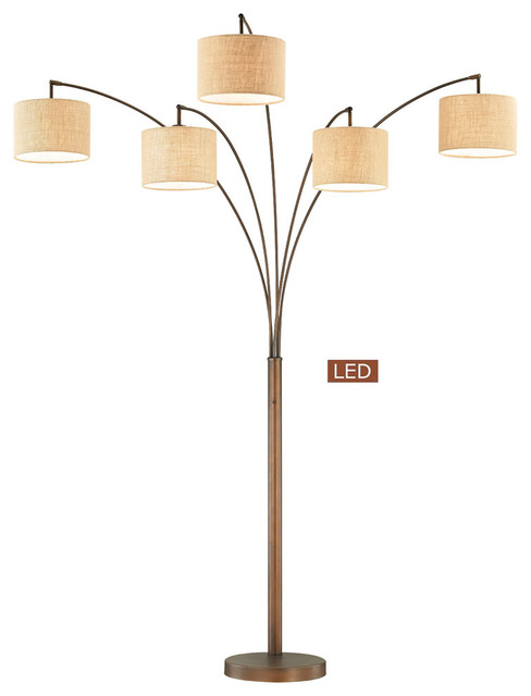 Lucianna 83 5 Arch Led Floor Lamp With Dimmer Antique Bronze