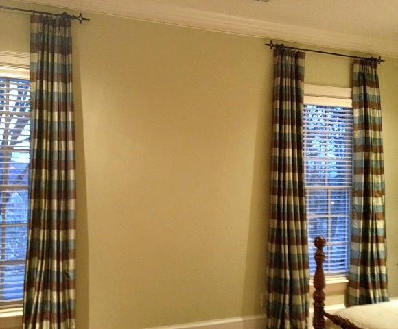 Blue Green Brown Silk Plaid Curtain Panels Traditional