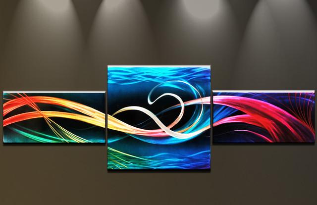 Wandbilder abstrakte kunst moderne malerei auf metall gro e mehrteilig handgefer modern - Abstrakte wandbilder ...