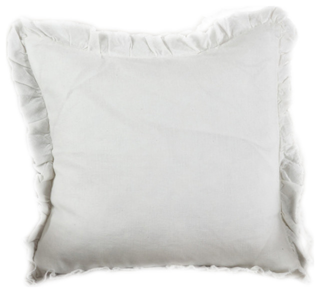 "Ruffled Linen Down Filled Throw Pillow, 20""x20"", Ivory."