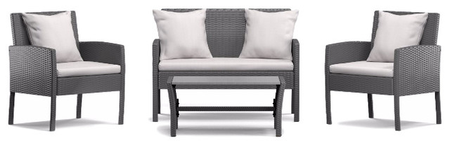 Azura 4 piece Indoor/Outdoor Conversation Set, Gray