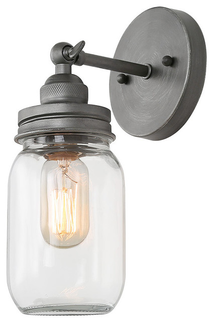 Lnc 1 Light Mason Jar Wall Sconce Antique Silver Galss Bath Vanity Lights