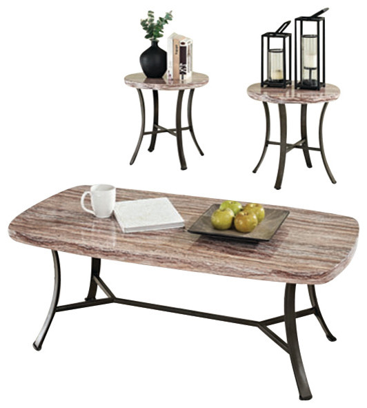Faux White Marble Coffee Table Set: Daisy White 3-Piece Faux Marble Top Coffee End Occasional