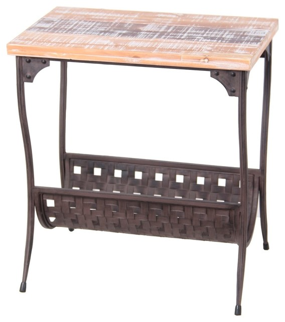 Distressed finish iron and wood magazine holder accent for Wood and metal bedside table