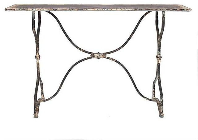 Distressed Outdoor Metal Table Black And White