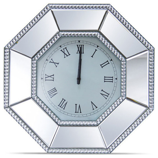 Mirrored Wall Clock alico michael amini montreal octagonal mirrored wall clock