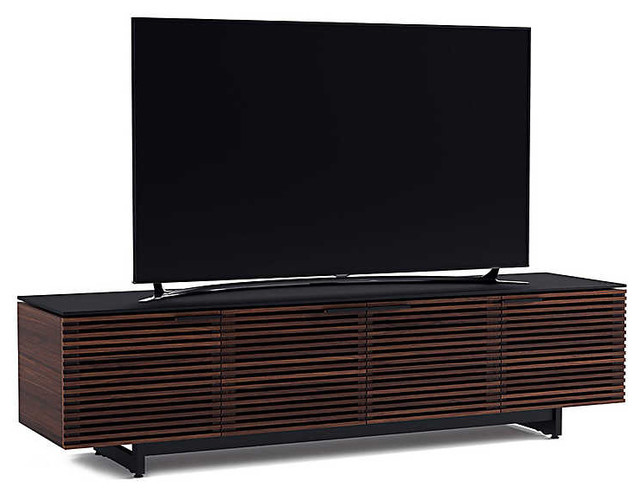 Corridor Quad-Width Low Media Console By Bdi, Chocolate Stained Walnut.