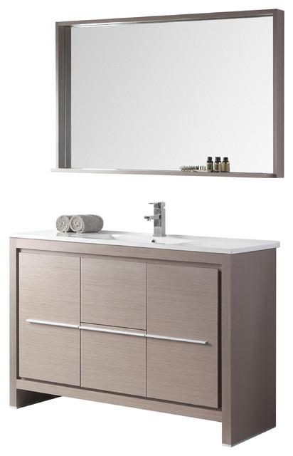 Awesome 48 Viara Gray Oak Modern Bathroom Vanity Mirror Download Free Architecture Designs Ferenbritishbridgeorg