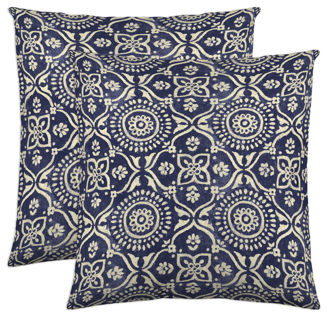 Adara Decorative Pillow, 18x18, Ink, Set Of 2.