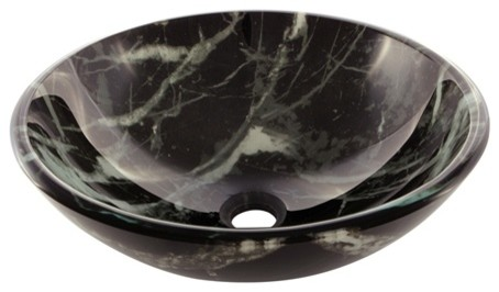Marble 16.5 Diameter Double Layer Glass Vessel Bathroom Sink, Black/white.