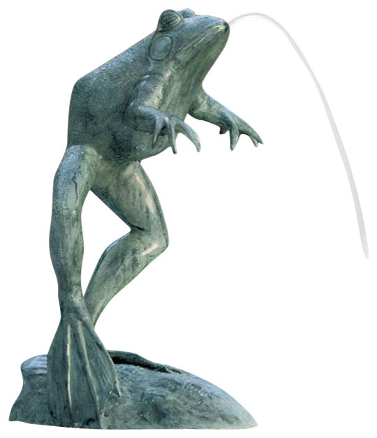 Giant Jumping Frog Statue Traditional Garden Statues And Yard Art
