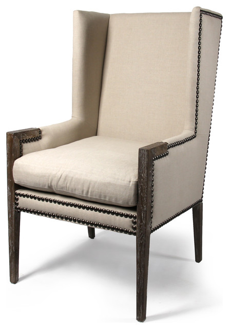French Modern Angled Linen Nailhead Wing Chair Traditional Armchairs And  Accent Chairs