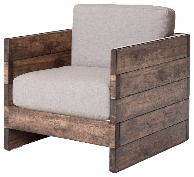 Watson Modern Rustic Lodge Chunky Wood Oak Square Arm Chair Armchairs And Accent Chairs By Kathy Kuo Home