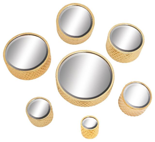 Metal Wall Mirror, Gold, 7-Piece Set.