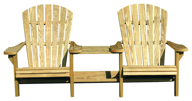 Pressure Treated Pine Adirondack Settee With Center Table