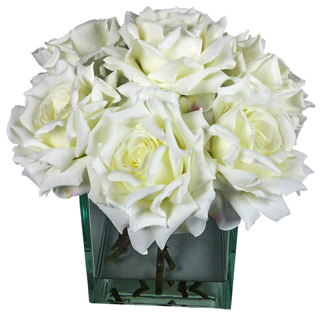 Roses In 6 5 Cube Vase Contemporary Artificial Flower Arrangements By D D Inspiration Llc