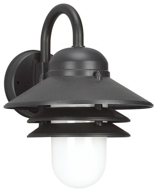 Sea Gull Lighting Bayside 1 Light Nautical Outdoor Wall Lanern In Black  With Whi Midcentury