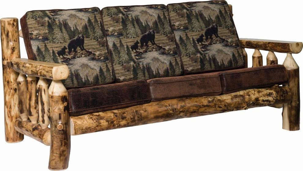 Rustic Aspen Log Living Room Sofa