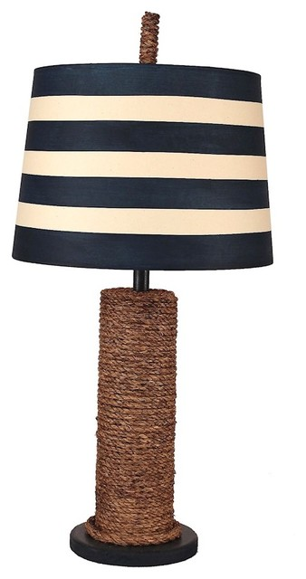 Coast Lamp Coastal Manila Rope Spindle Table Lamp, Solid Navy.
