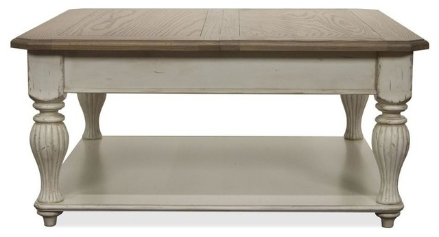coventry two tone lift top square cocktail table
