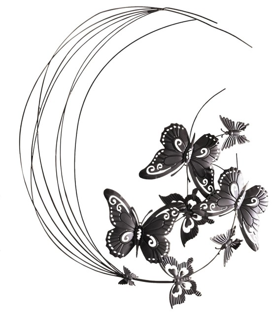 Metal Wall Decor Flying Butterflies Sculpture Eclectic Outdoor Wall Art