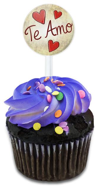 Te Amo Handwritten Cupcake Toppers Picks Set.