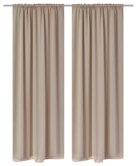 "2-Piece Set Cream Slot-Headed Blackout Curtains 53""x96""."