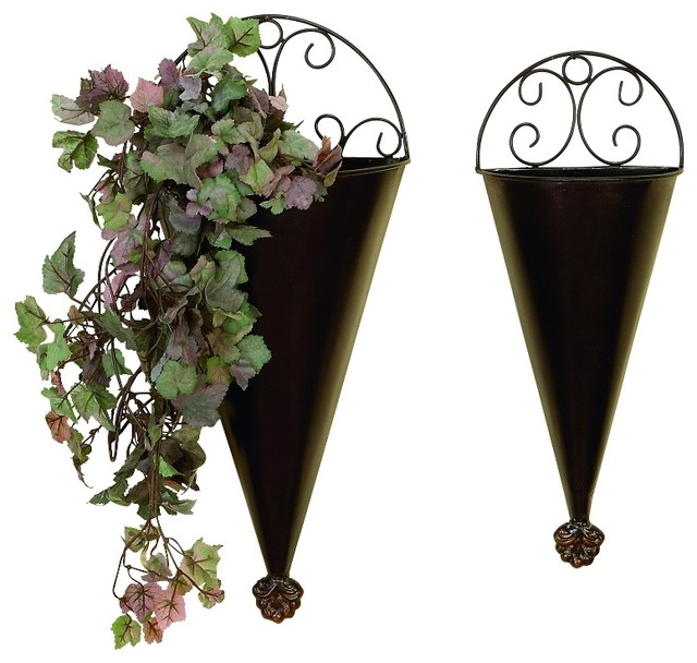 Elegant Set of 2 Brown Metal Wall Planters Scroll Work Patio Garden Decor  41765 industrial-