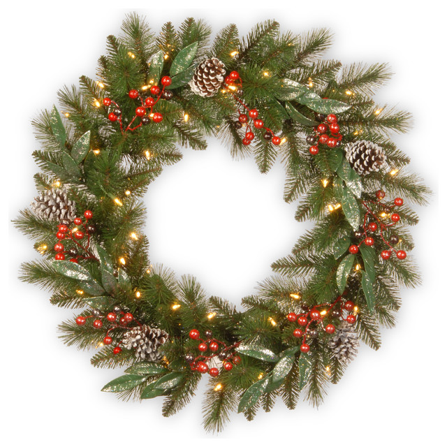 "Frosted Pine Berry Wreath With Battery Operated Led Lights, 30""."