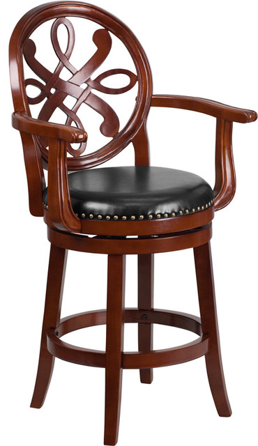 26 High Wood Counter Height Stool With Arms And Leather Swivel Seat