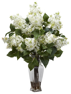 Nearly Natural Artificial Flower Lilac Silk Flower Arrangement, White