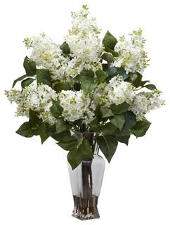 Nearly Natural Artificial Flower Lilac Silk Flower Arrangement, White