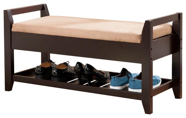 Wood Bench With Shoe Storage, Espresso - Shoe Storage - by Pilaster Designs