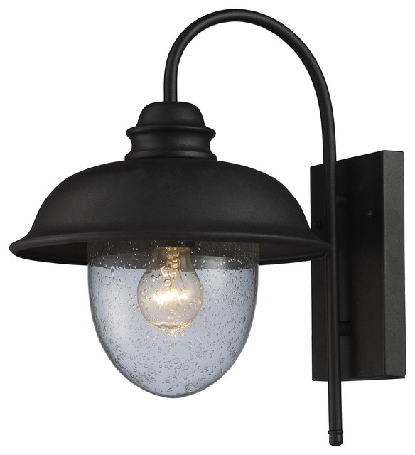 Streeside Cafe 1-Light Outdoor Sconce in Matte Black traditional-outdoor -wall-  sc 1 st  Houzz & Streeside Cafe 1-Light Outdoor Sconce in Matte Black - Traditional ... azcodes.com